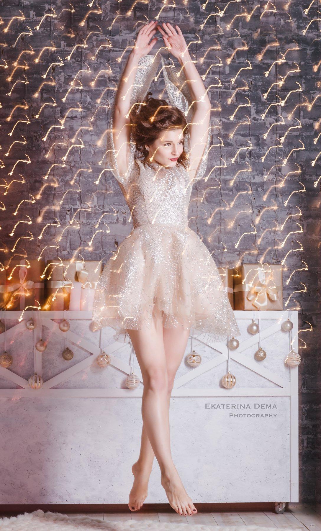 portrait, newyear, eyes, girl, woman, beauty, lights, holiday , Ekaterina Dema