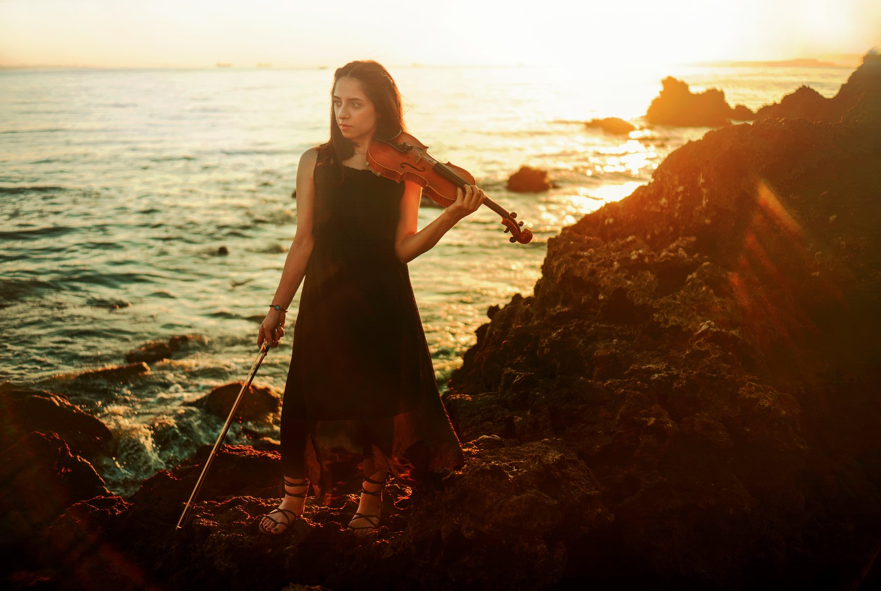 portrait fine art girl sea model sunset color, Ali Arabzadeh