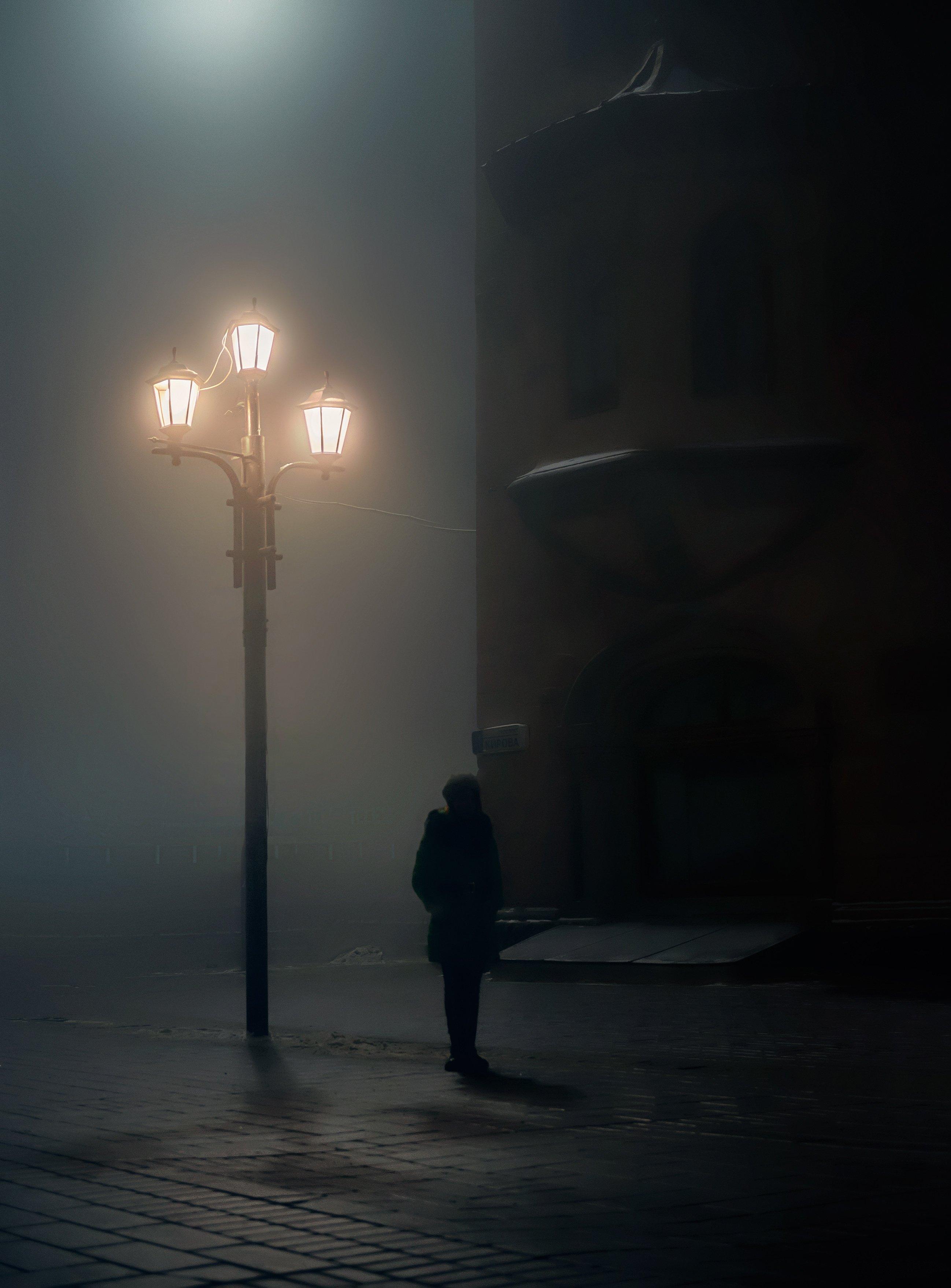 город, стрит, ночь, туман, саратов, фонарь, Алексей Ермаков