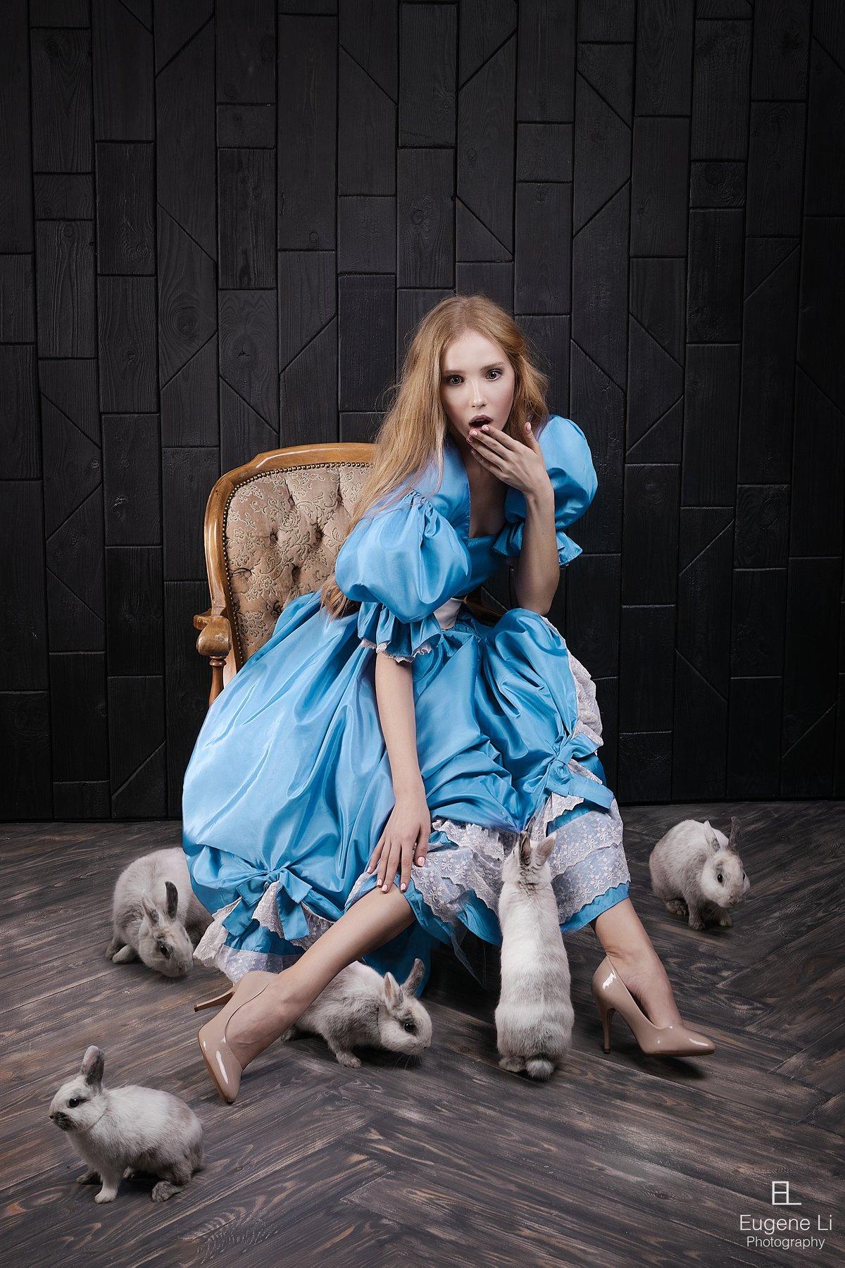 портрет, кролики, Евгений Ли