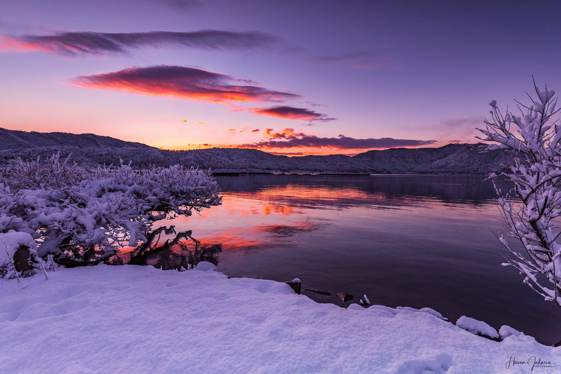 winter snow morning lake landscape shiga japan, Hasan Jakaria