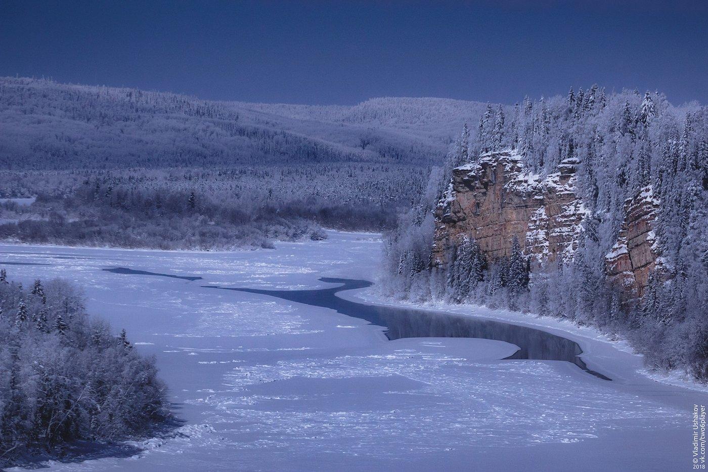 ночь, зима, лунный свет, река, вишера, скала, камень говорливый, пермский край, Владимир Ушаков