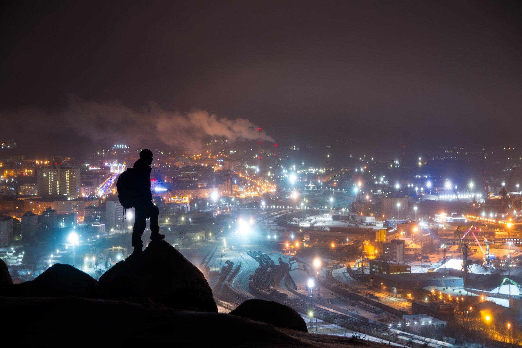 ночь туман россия мурманск порт город, Евгений Озеров