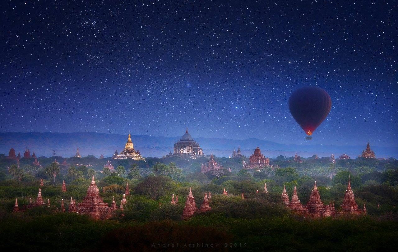 myanmar, burma, nightsky, balloon, landscape, scenic,, Soft Light