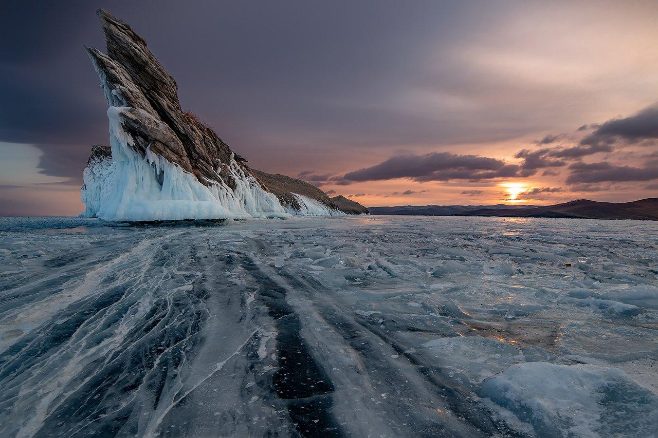 лед, байкал, ольхон, пейзаж, зима, рассвет, закат, огой, Ипполитов Александр