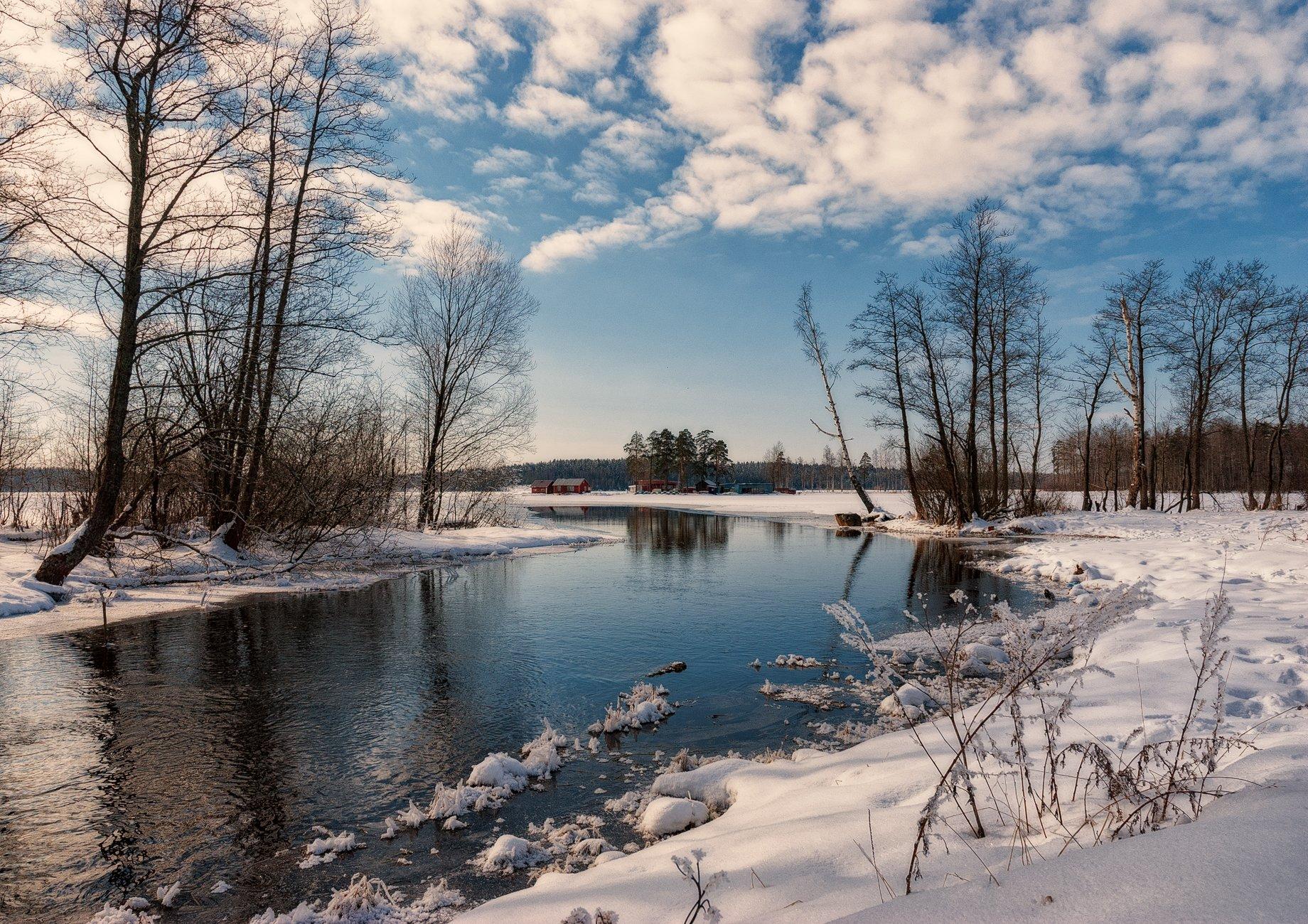весна,март,воздух,река,небо,тучи,пейзаж, Евгений Плетнев