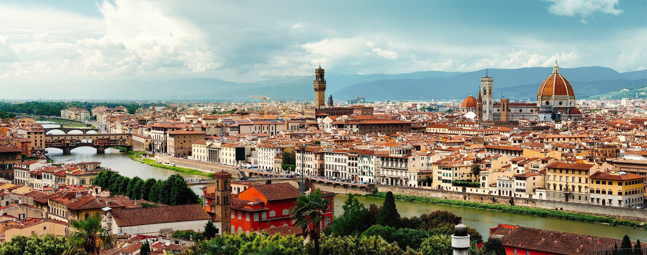 флоренция, италия, микеланджело, река, старый город, понте векьо, горы, облака, черепица, крыши, путешествие, Андрей Кобыща