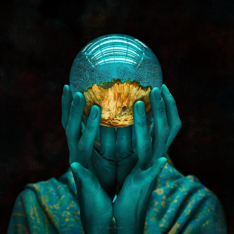 портрет, шар, магия, арт, руки, лицо, голова, цвет, Ковалёв Иван