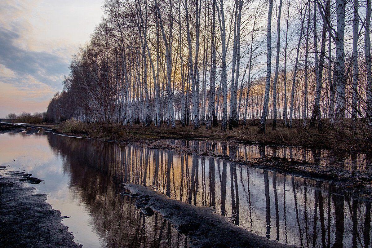 весна, апрель, закат, дороги, Владислав Никишин