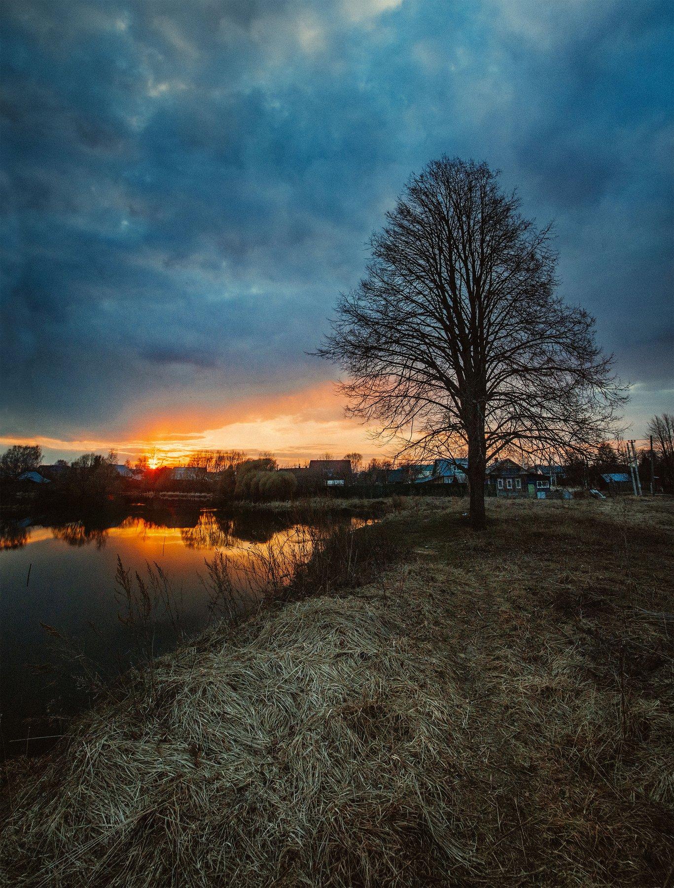 закат, россия, пруд, в деревне, Воробьёв Евгений