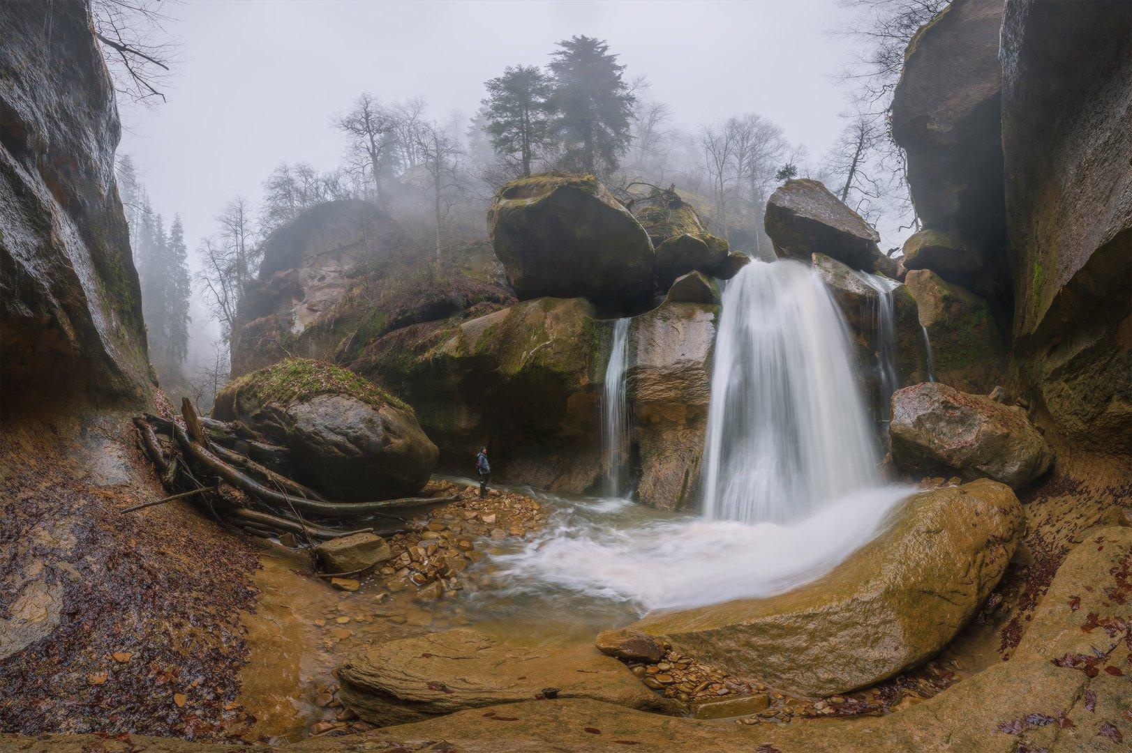 северный кавказ солёное река  кызыл-бек водопад затерянный весна апрель, Николай