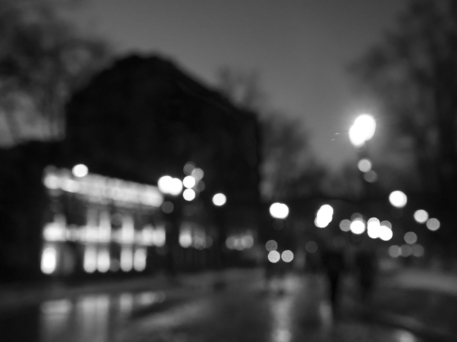 Black and white, Monochrome, Moscow, Russia, Bokeh, Elena Beregatnova