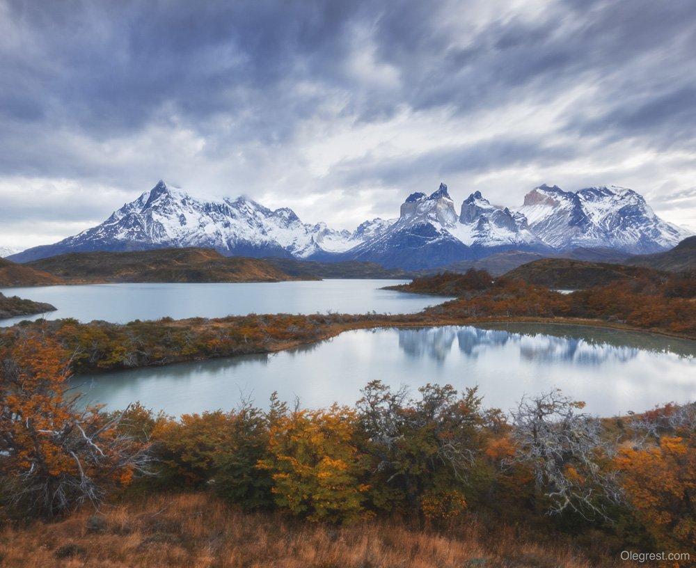 горы осень озеро отражение патагония чили, Rest Oleg