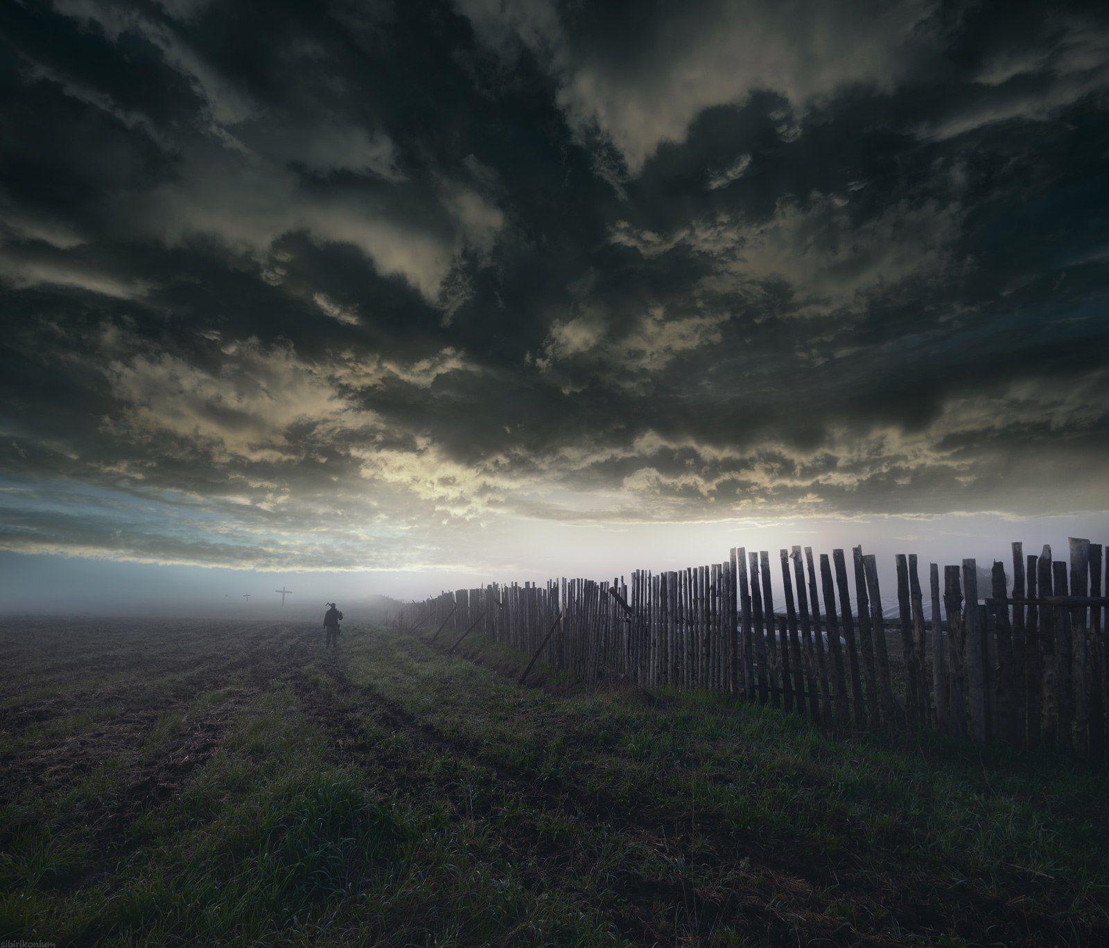 пейзаж небо человек, Морозов Юрий