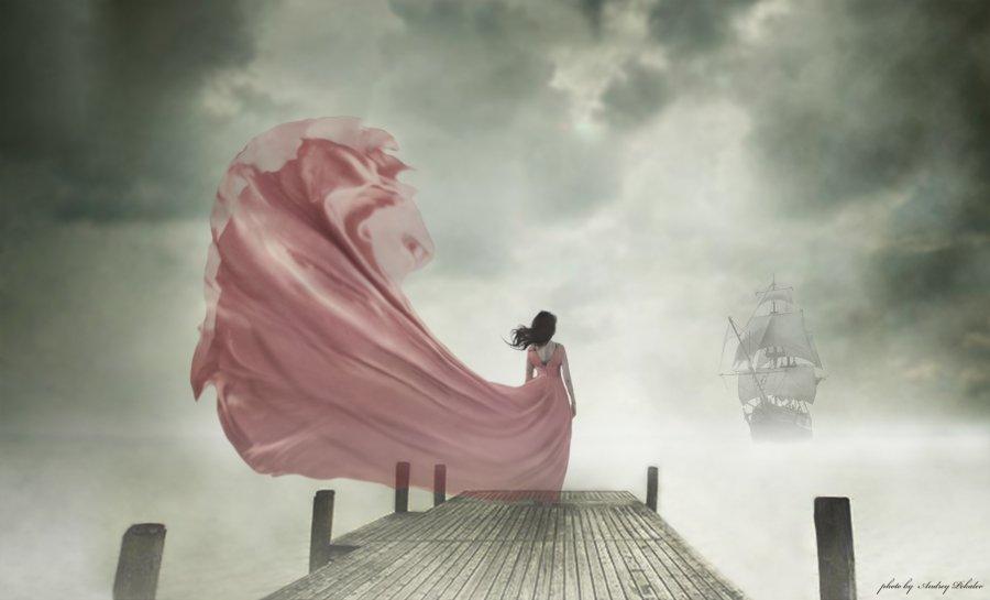 девушка, море, корабль, волны, причал, Андрей