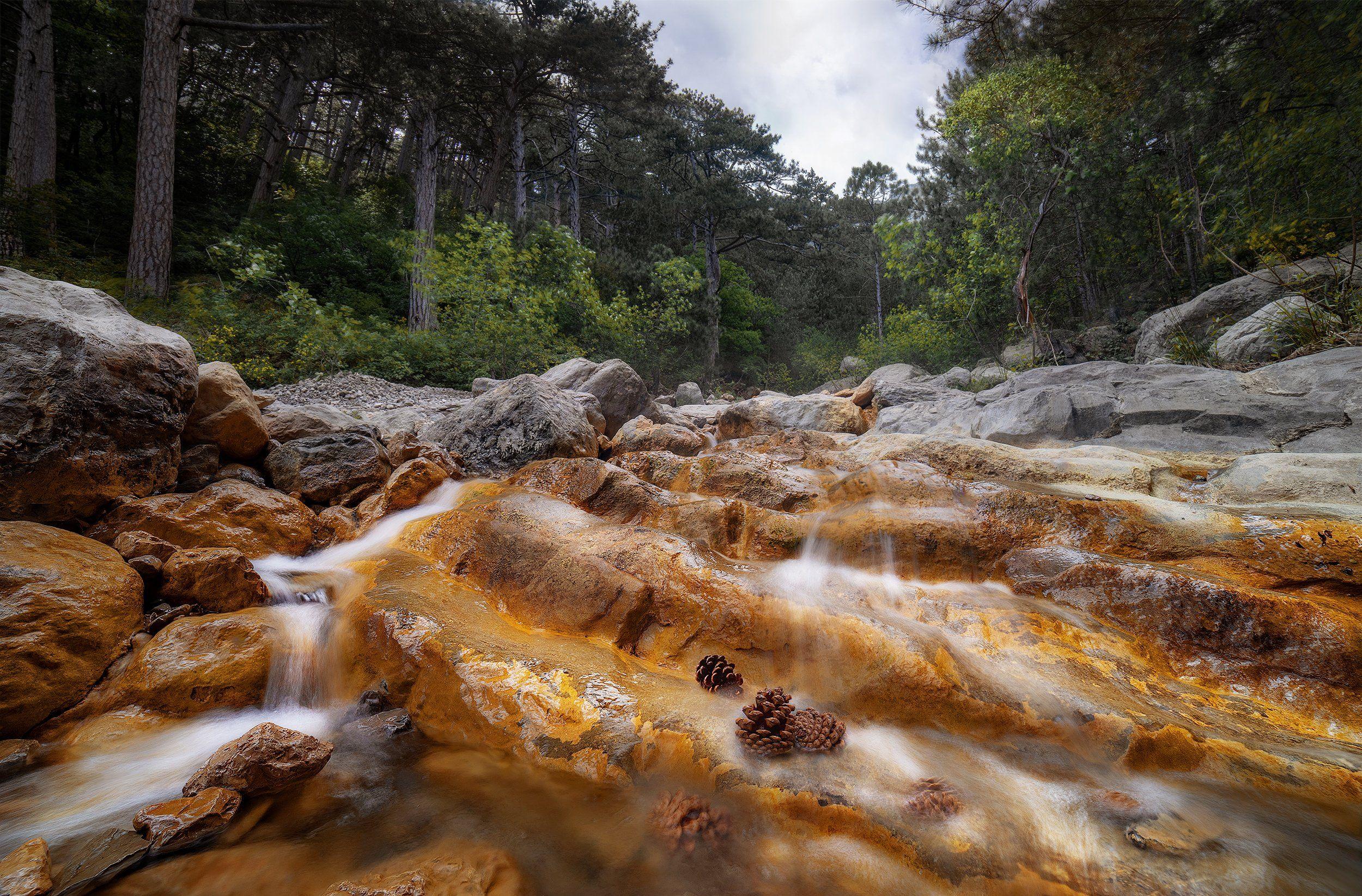 лестница, лес, река, горы, крым, природа, водопад, Макс