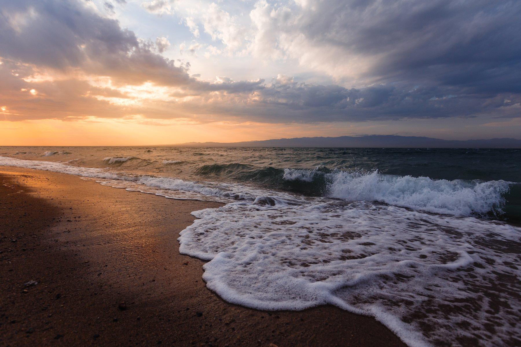 природа, пейзаж, закат, озеро, море, монголия, Попов Станислав