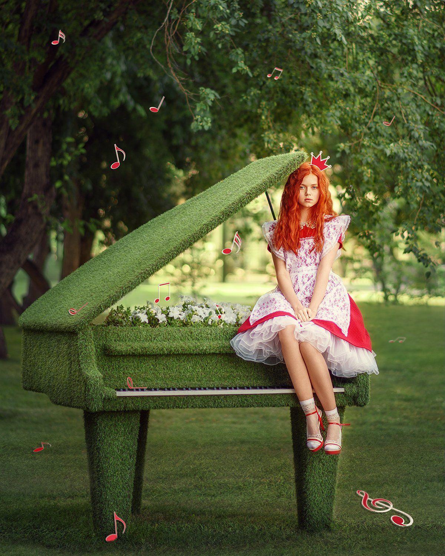 девушка, рыжеволосая, красный, лето, сказка, рояль, портрет, portrait, piano, outdoor, redhair, redhead, red dress, summer, Семёхина Марина