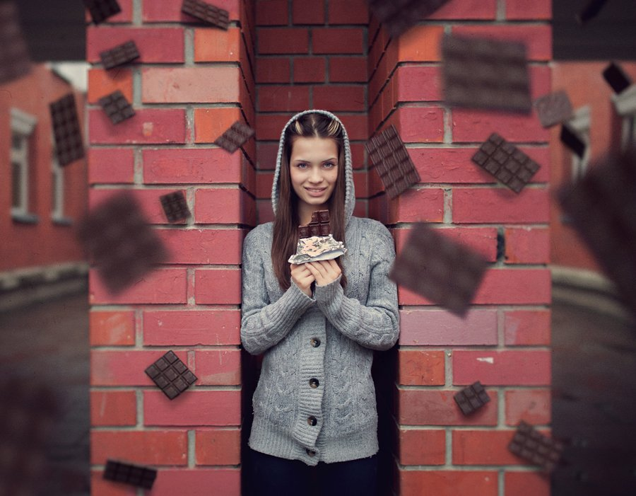 i love chocolate, девушка, фото, настя, портрет, шоколад, плитки, летают, левитация, в воздухе, класивая, сладкоежка, Никита Остроумов