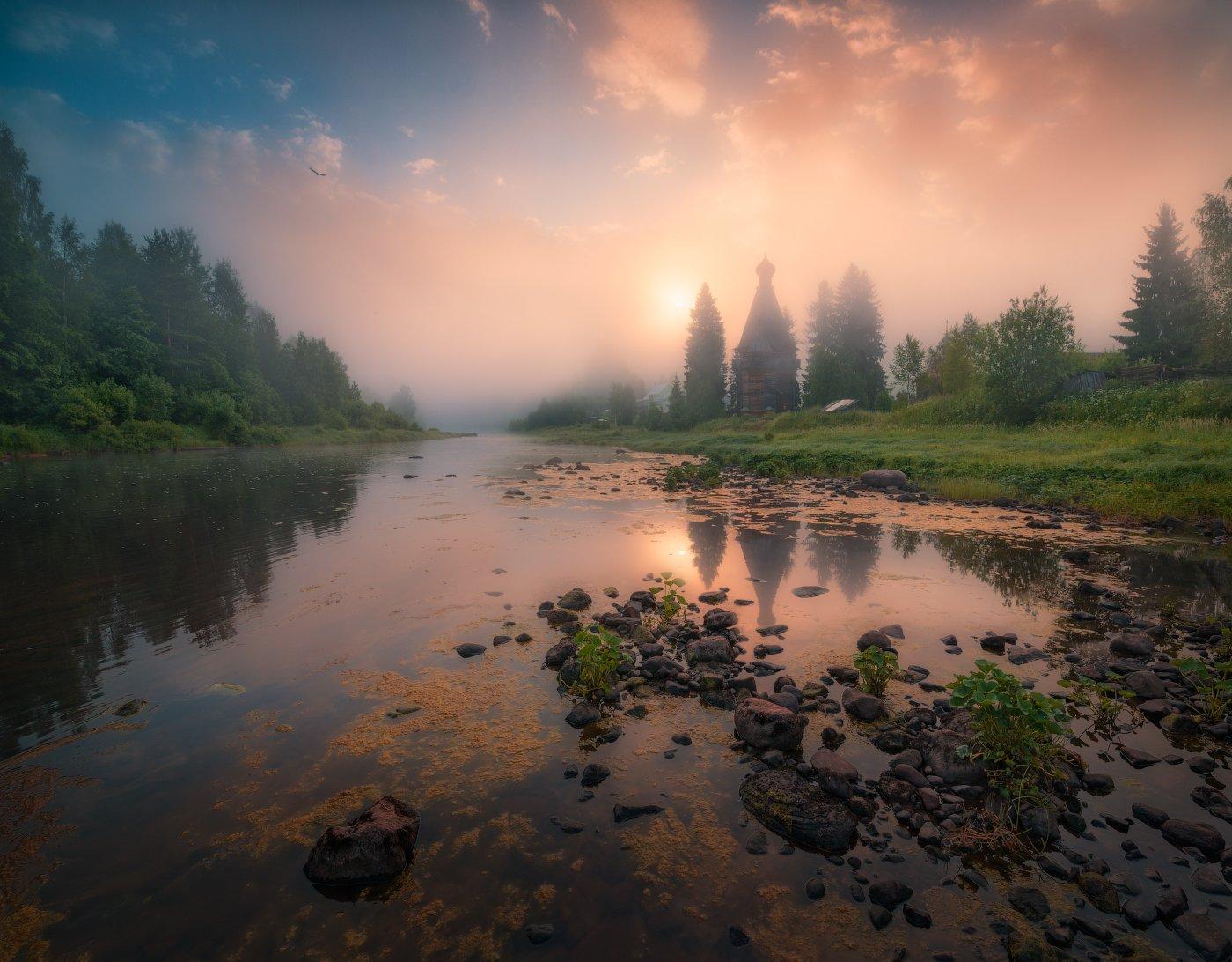утро, солнце, туман, россия, река, церковь, вода, Cтанислав Малых