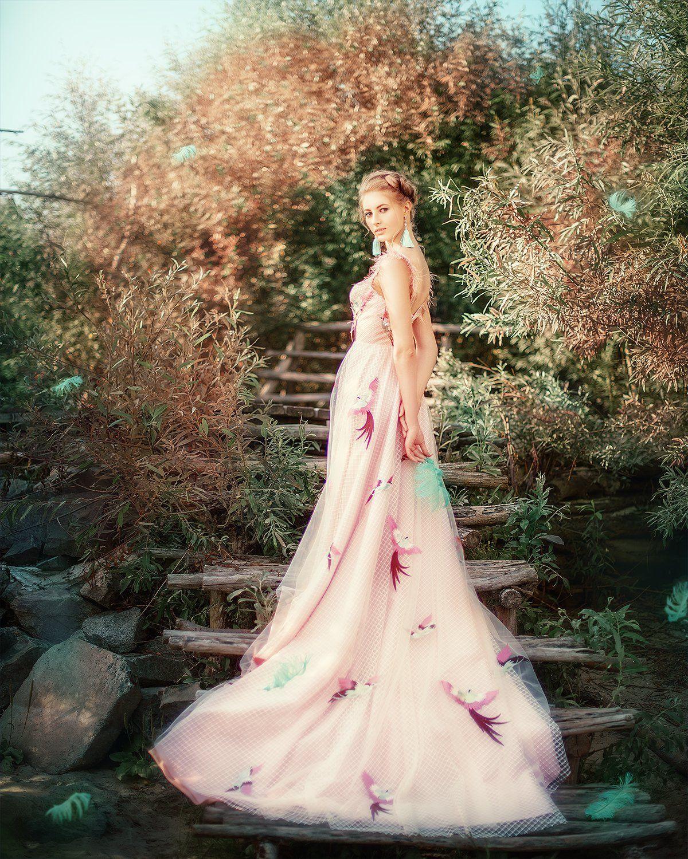 девушка, блондинка, птица, лето, сказка, платье, портрет, portrait, bird, outdoor, blondhair, blond, pink, summer, Семёхина Марина