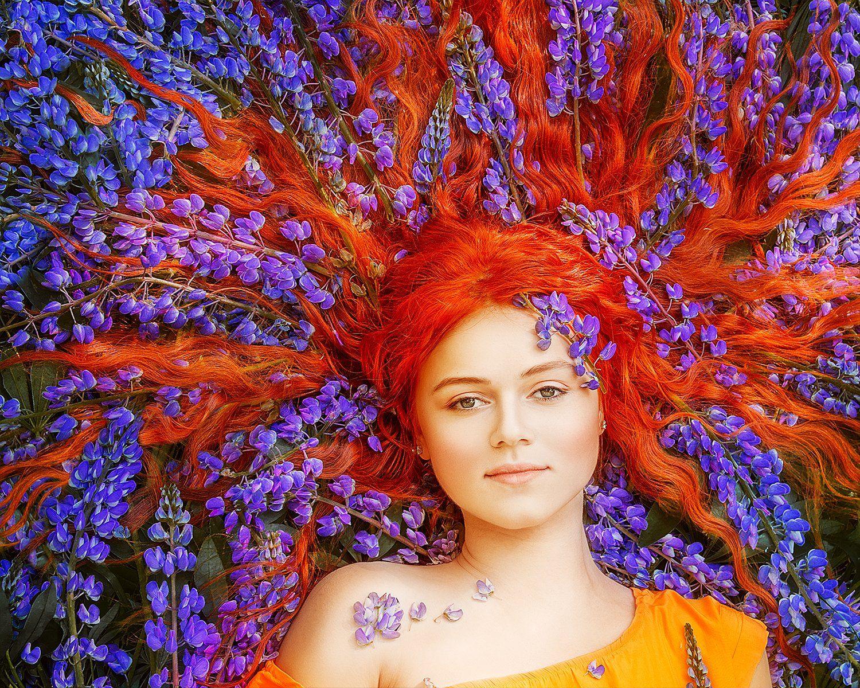 портрет, рыжий, люпины, фиолетовый, лето, цветы, portrait, redhead, redhair, purple, flowers, summer, Семёхина Марина