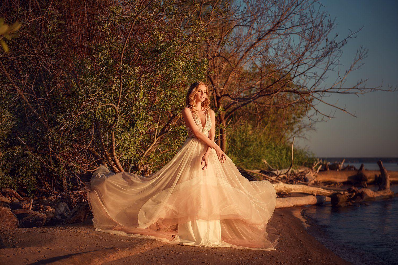 портрет, закат, побережье, платье, portrait, women, seaside, sunset, Семёхина Марина