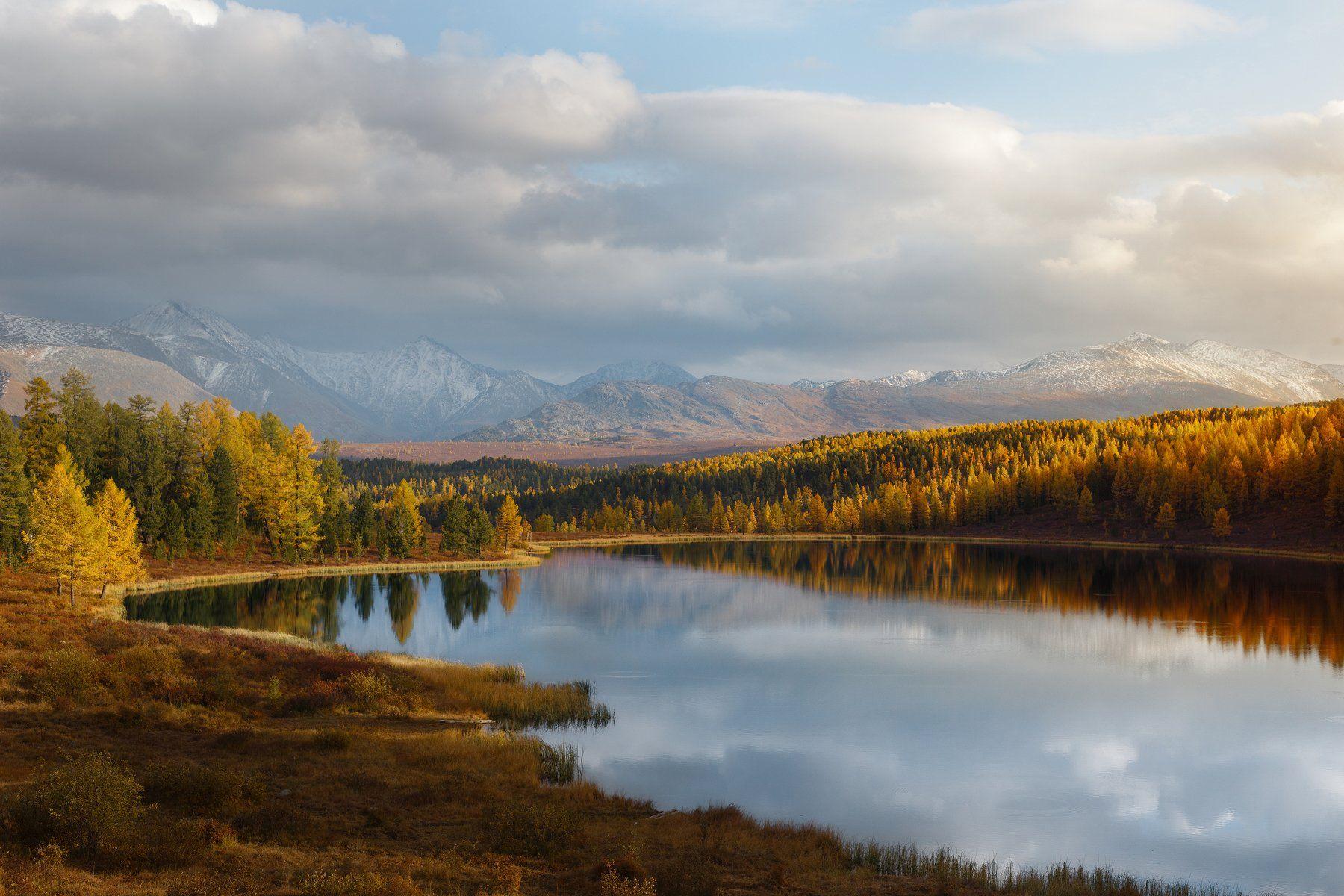 природа, пейзаж, закат, озеро, осень, алтай, горы, Попов Станислав