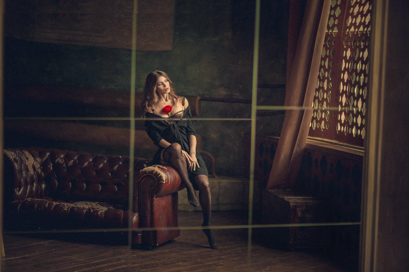 зеркало, искажения, преломления, модель, роза, отражения, mirror, reflections, Tatyana Forever