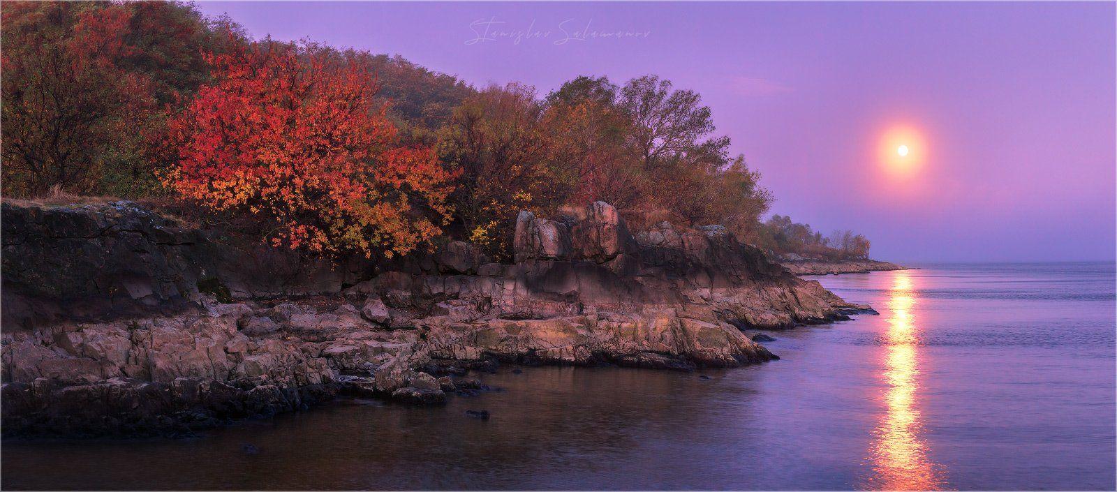 утро, рассвет, луна, осень, отражение, пейзаж, тишина, днепр, скалы, панорама, Станислав Саламанов
