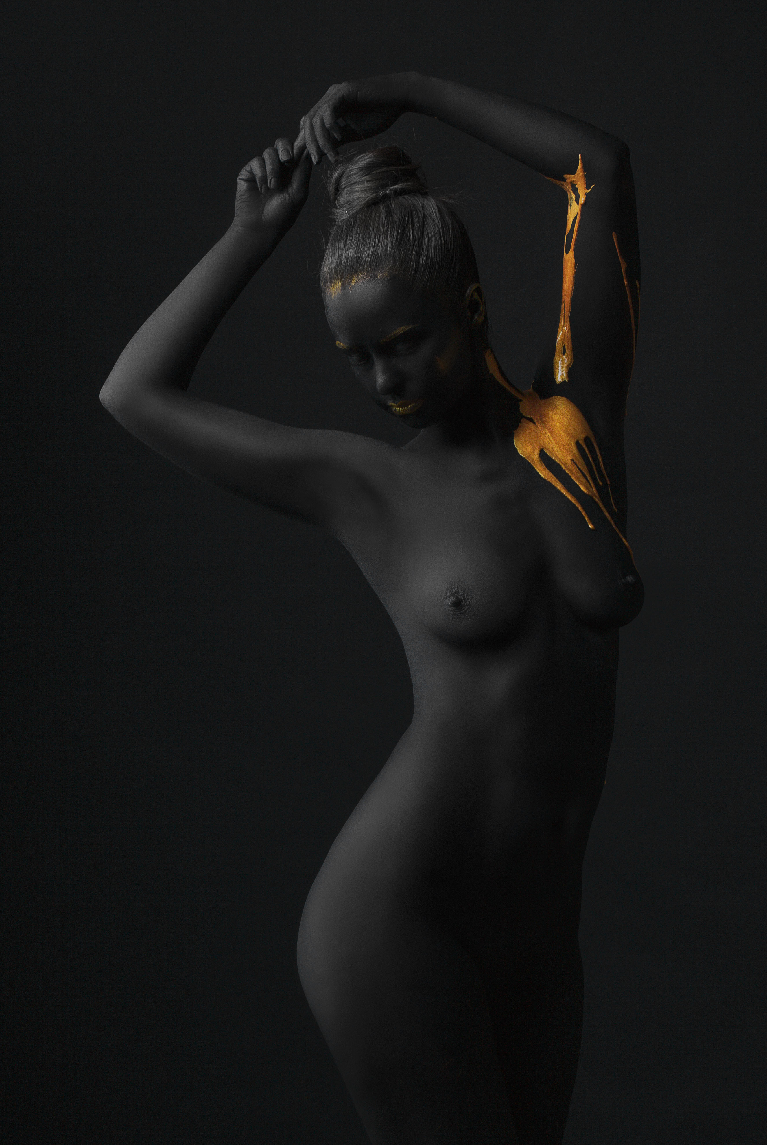 #black and gold #art #nude art #nude #girls #body art, Jaroslav