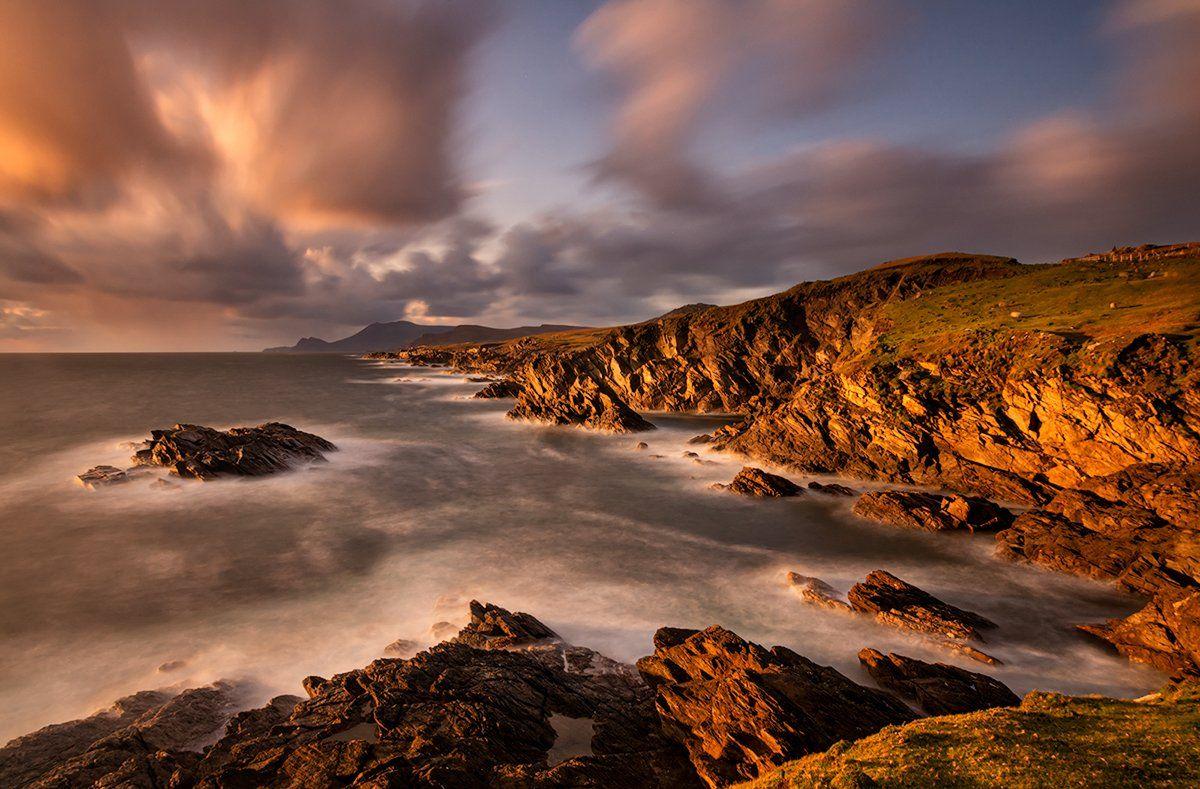 ireland, achill island, sunset, cliffs, ocean, Sławomir Majchrzak