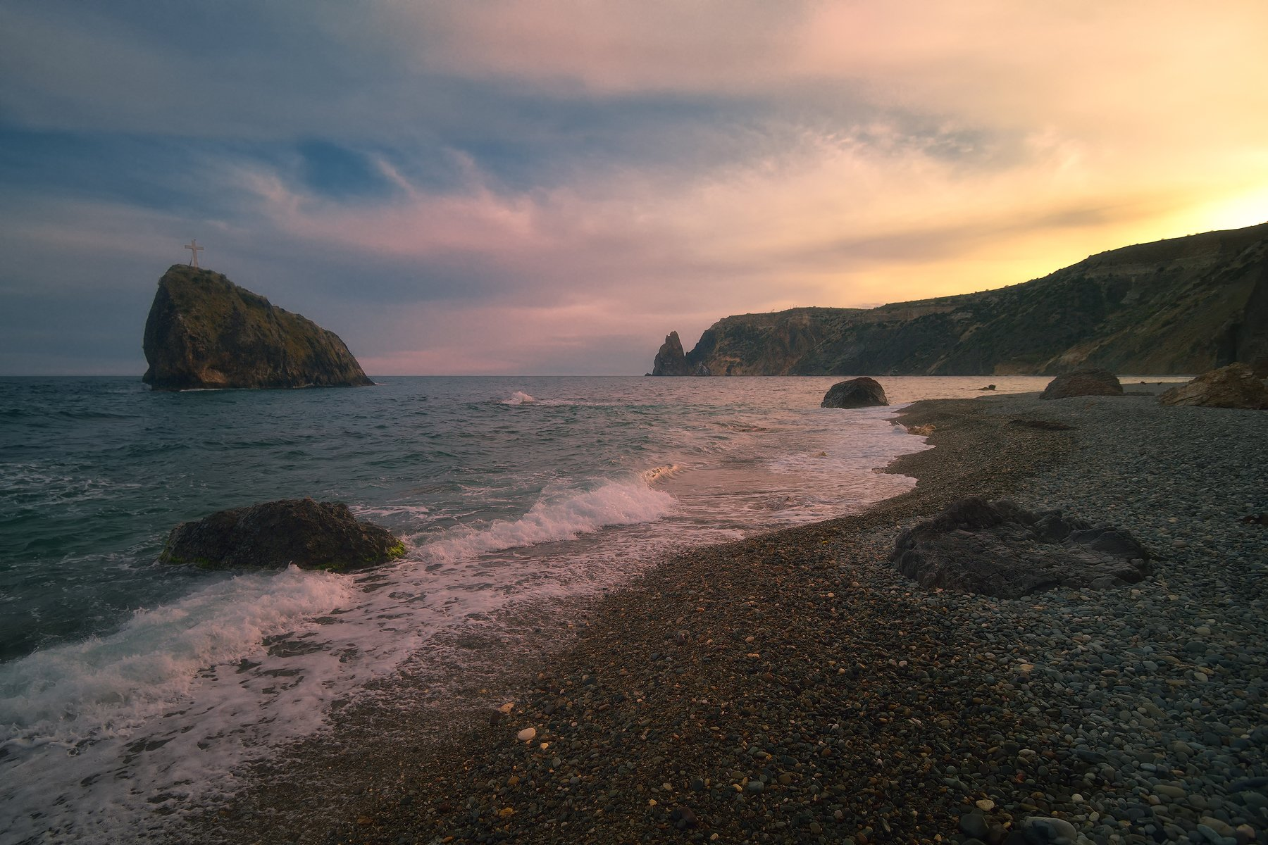 крым, фиолент, вечер, закат, море, горы, Никонов Алексей