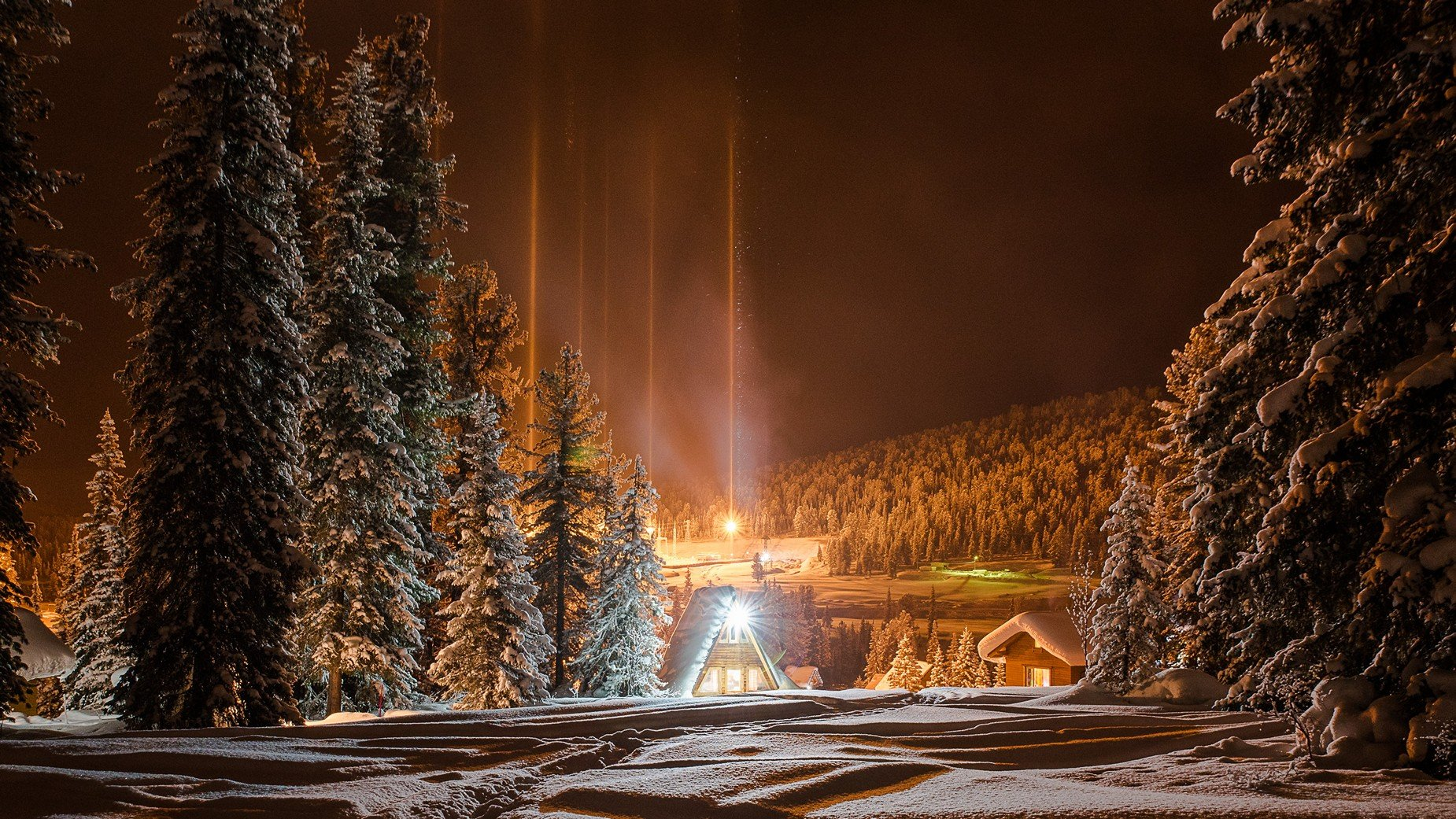 ергаки ночь огни снег зима кедры, Мальцев Юрий