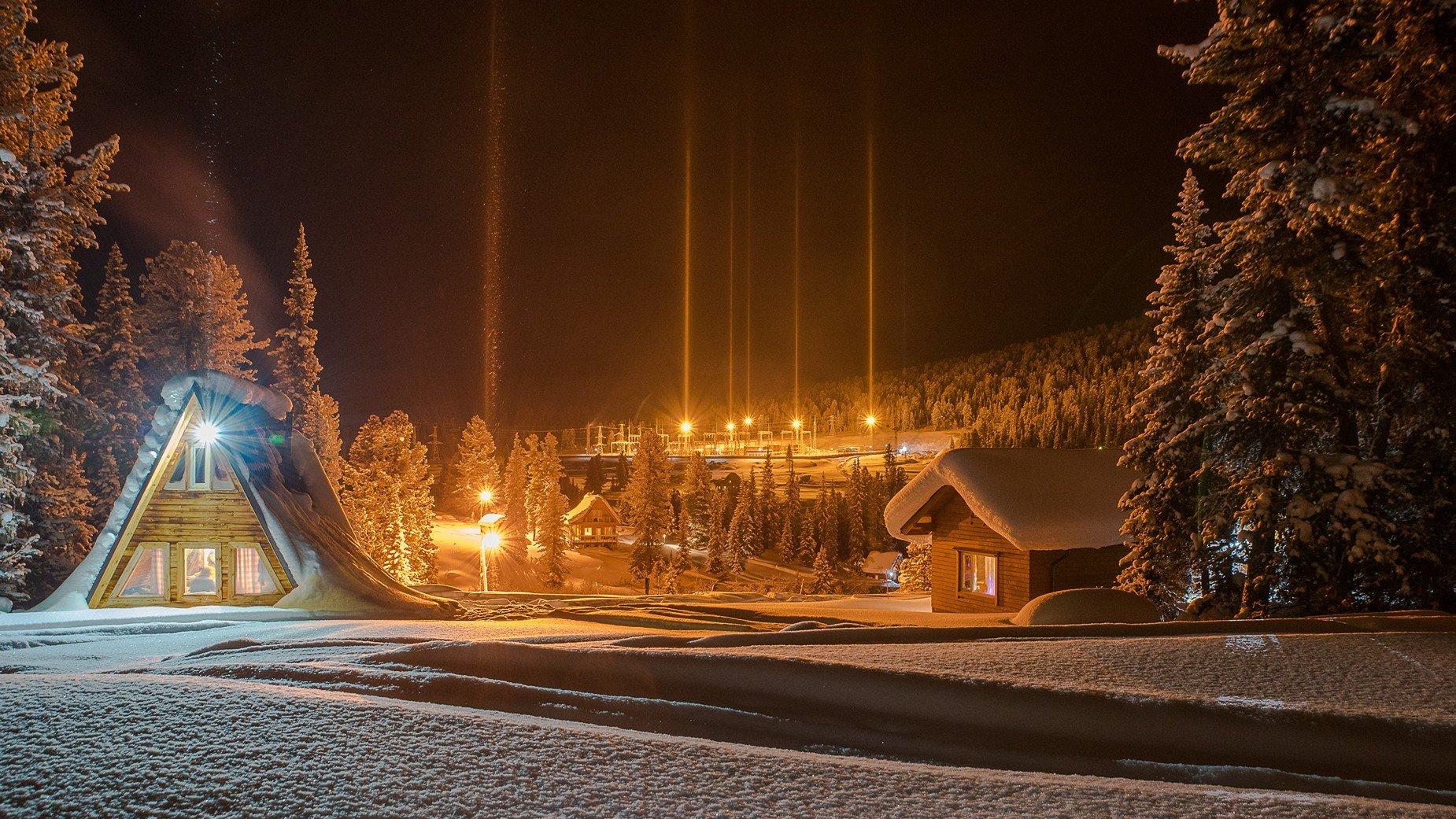 ергаки ночь огни снег зима кедры дома столбы свет вечер, Мальцев Юрий