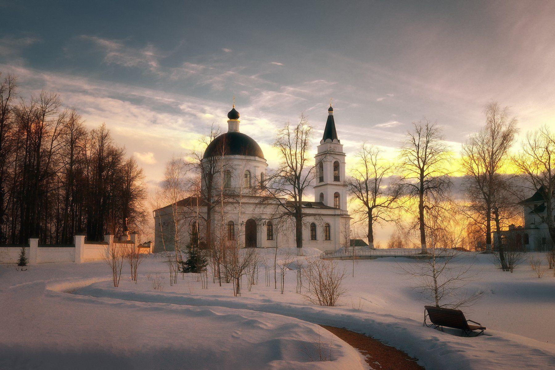 подмосковье, храм, зима, вечер, закат, церковь, Никонов Алексей