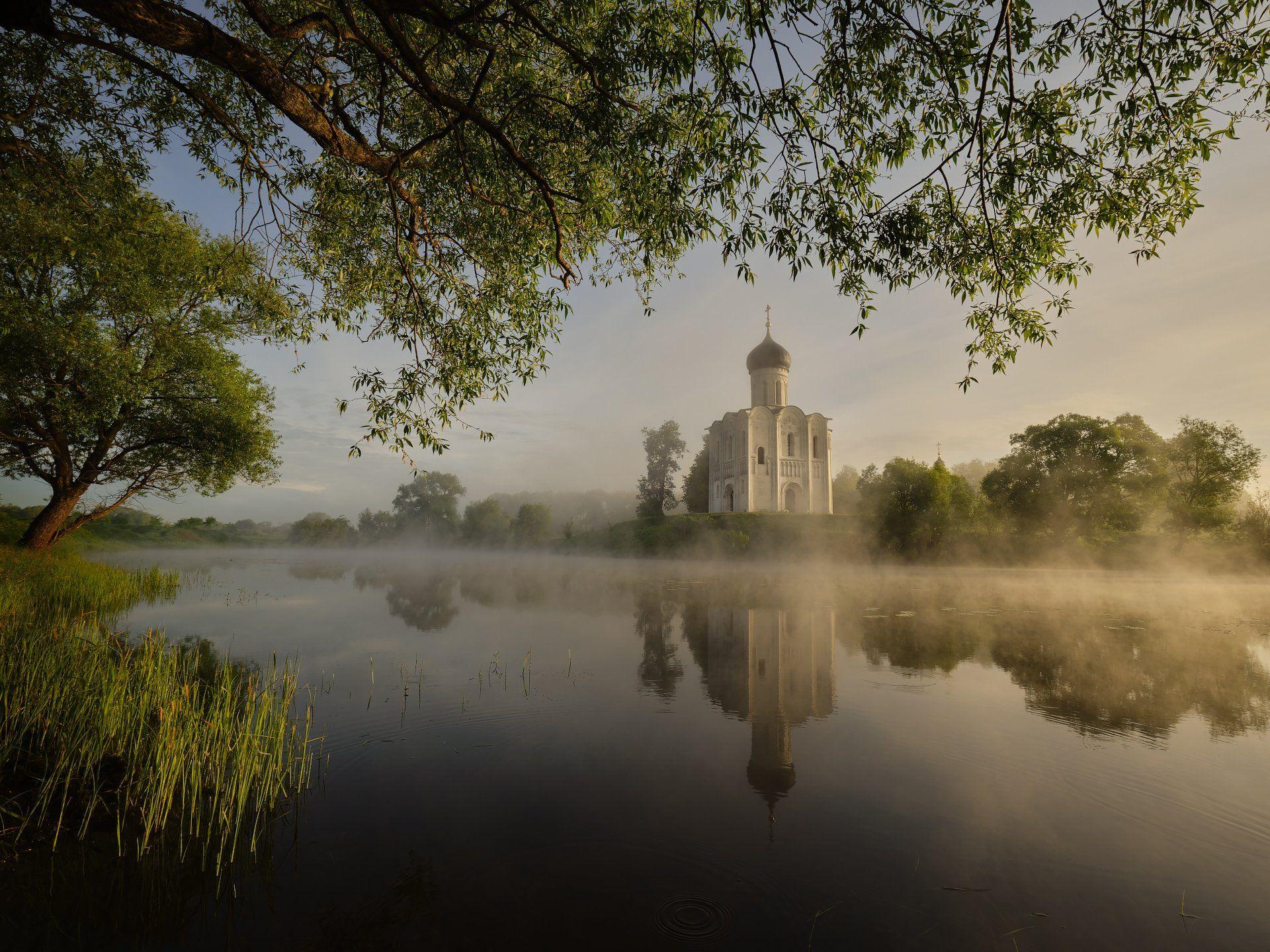 церковь, озеро, утро, отражение, Бельцев Григорий