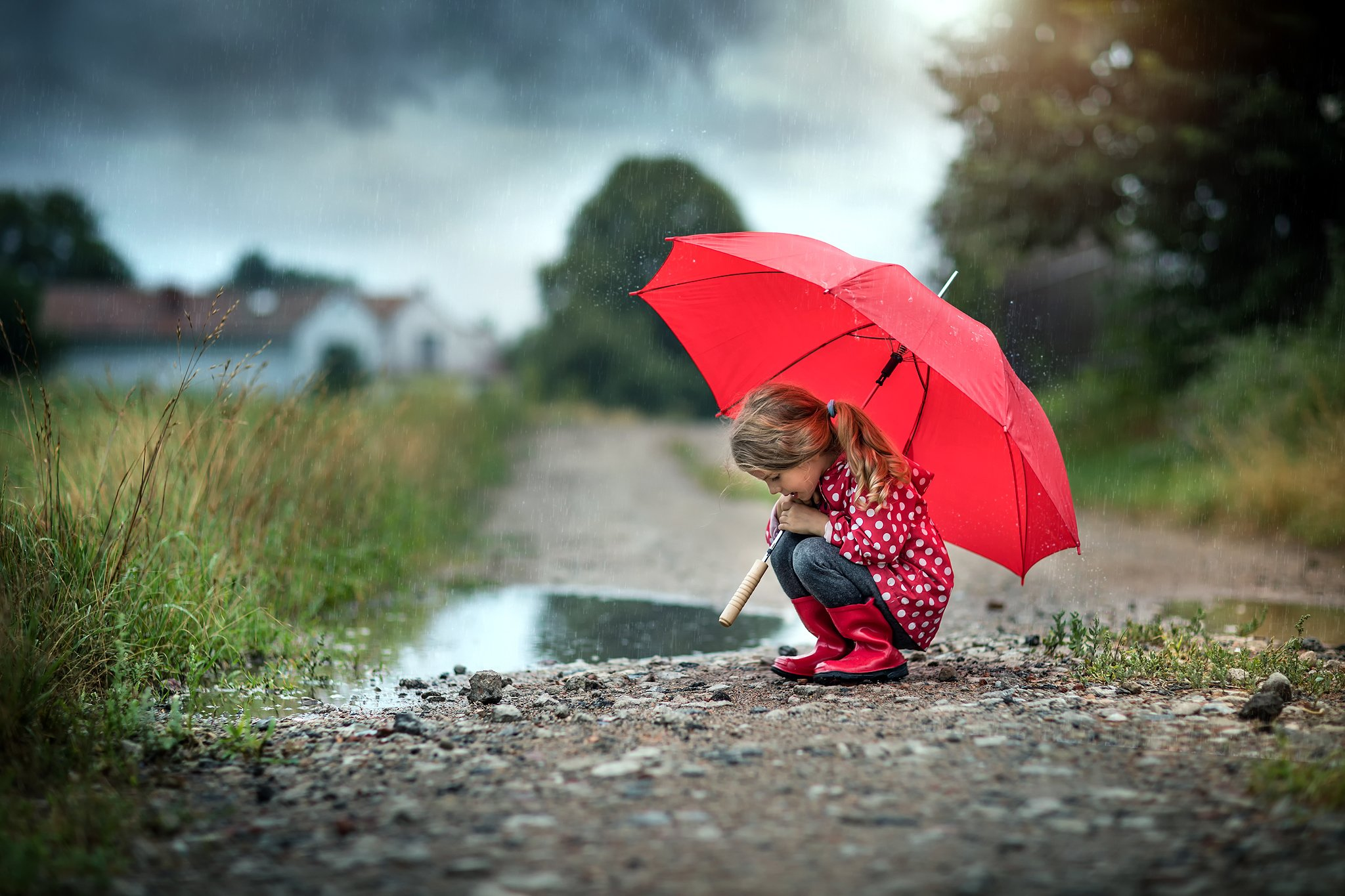 в дождливый день rainy day little girl cute umbrella red road path water, Radoslaw Dranikowski