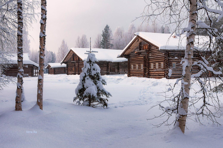 зима, снег, деревня, дома, деревья, елка, новый_год, Вера Ра