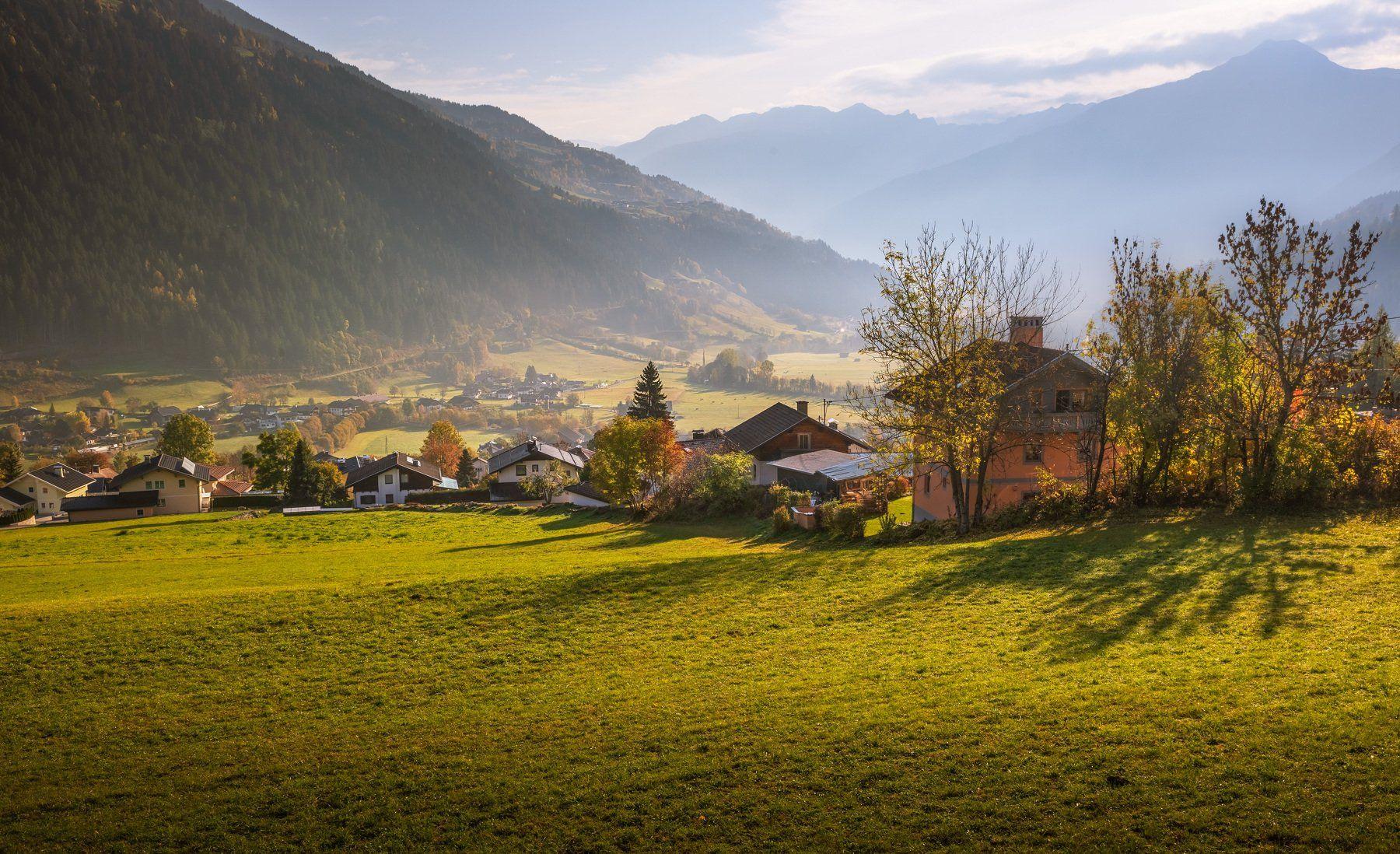 австрия, альпы, деревня, долина, горы, утро,,  Marat Max (Марат Макс)