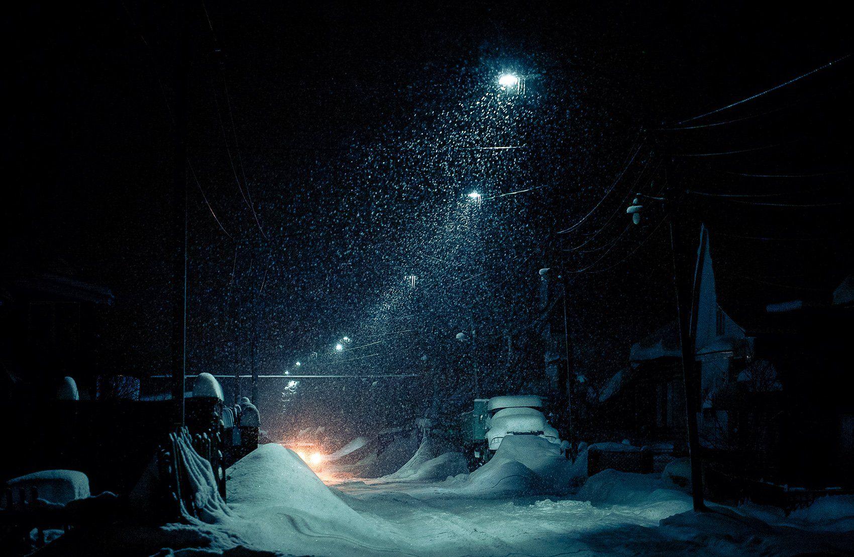 вечер, улица, фонарь, снегопад, дорога, Евгений Толкачёв