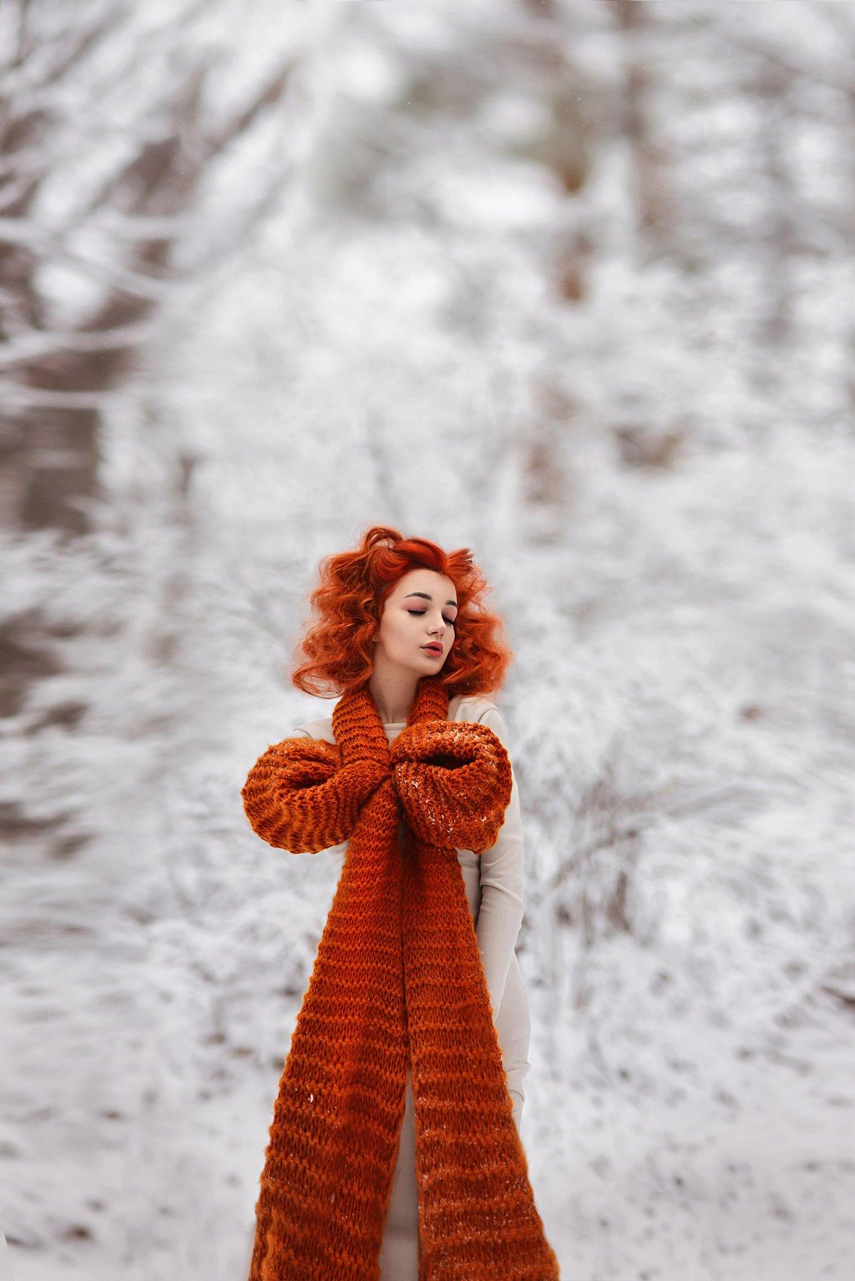 желание,шарф,зима,вязанный шарф,холод,мороз,девушка,портрет, Ilona