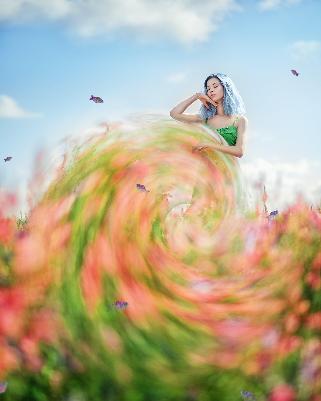 портрет, файнарт, синие волосы, розовые цветы, весна, portrait, springtime, fineart, blue hair, fantasy, pink flowers, Семёхина Марина