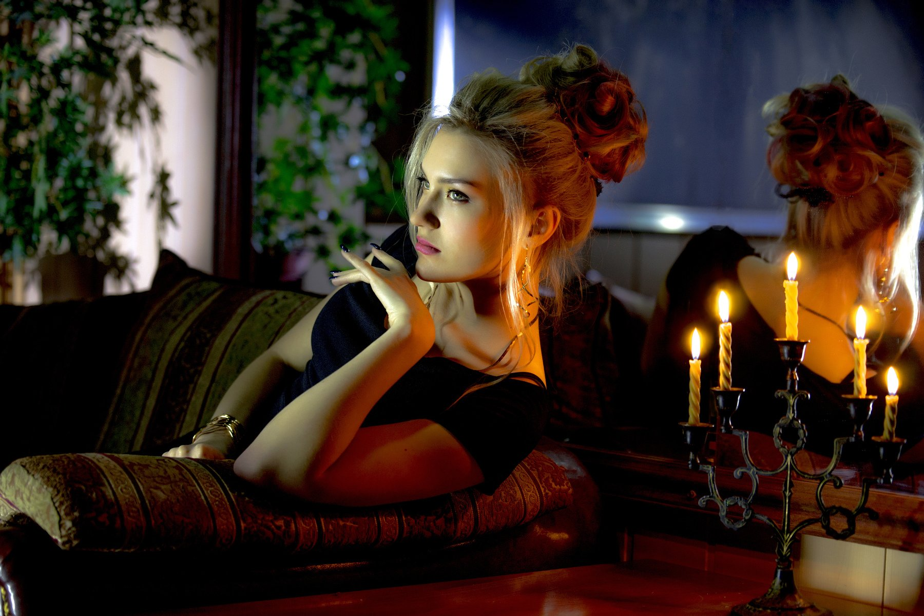 woman, beautiful, beauty, young, fashion, portrait, model, people, hair, blond, blonde, glamour, person, dress, night, lady, face, makeup, red, sensual, retro, happy, style, lingerie, candle holder, romance, evening, reflection, mirror, eyes, lips, jewelr, Вячеслав 19
