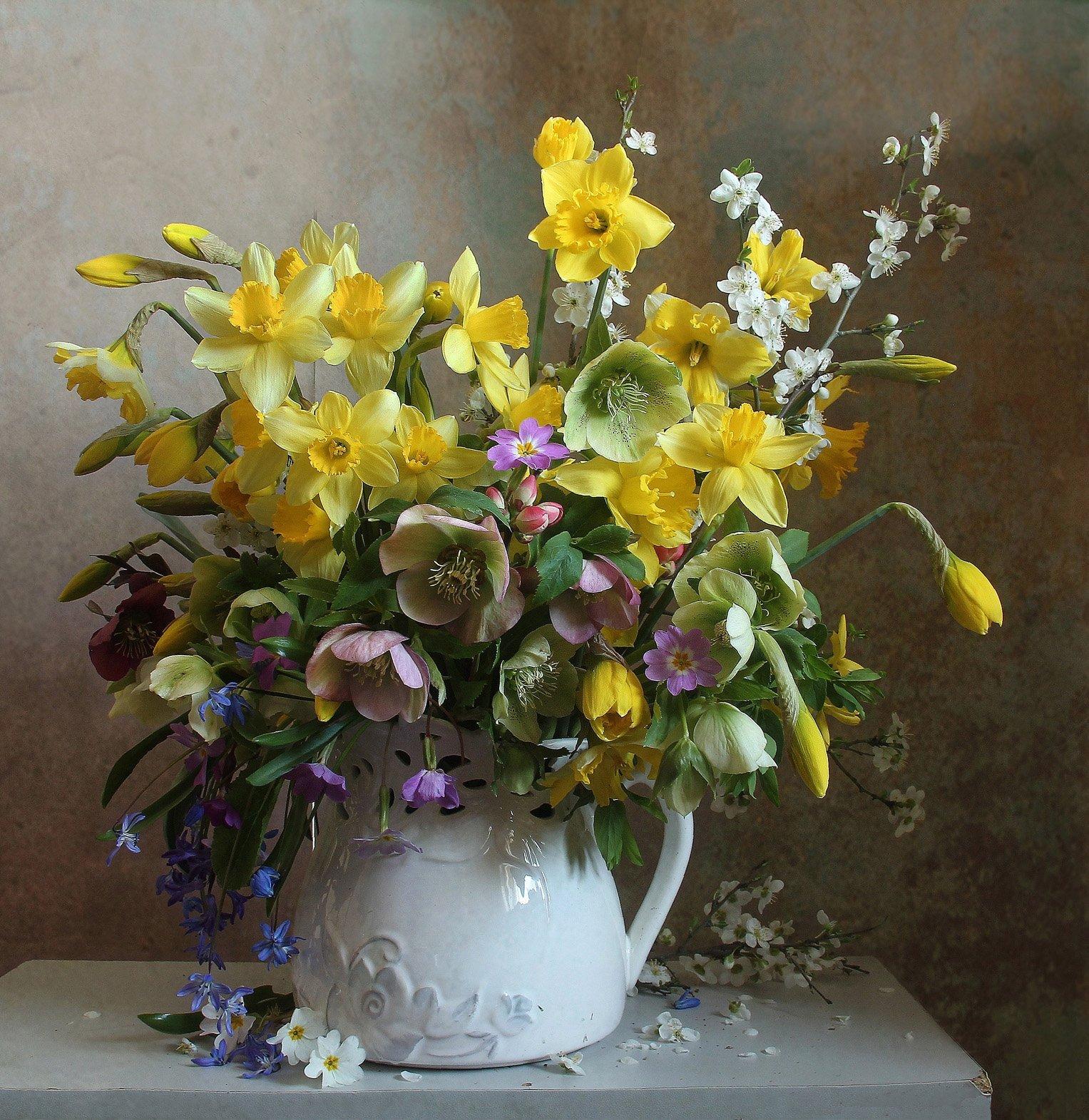 весна, натюрморт, букет цветов, нарциссы, марина филатова, Филатова Марина