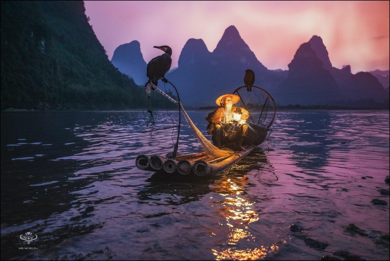 Китай, рыбак, закат, фототур, Mikhail Vorobyev
