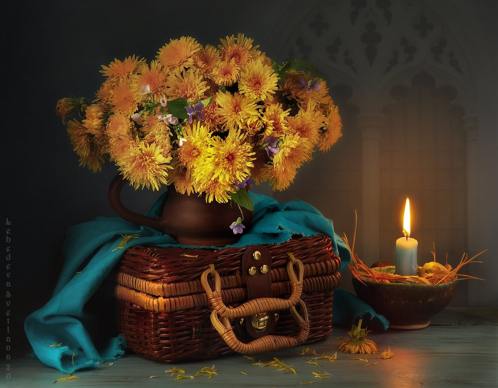 одуванчики,цветы,свеча, Л. Светлана
