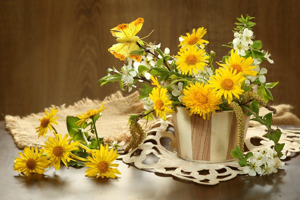 букет, цветы, желтые, ветка вишни, Шруб (Беляева) Татьяна
