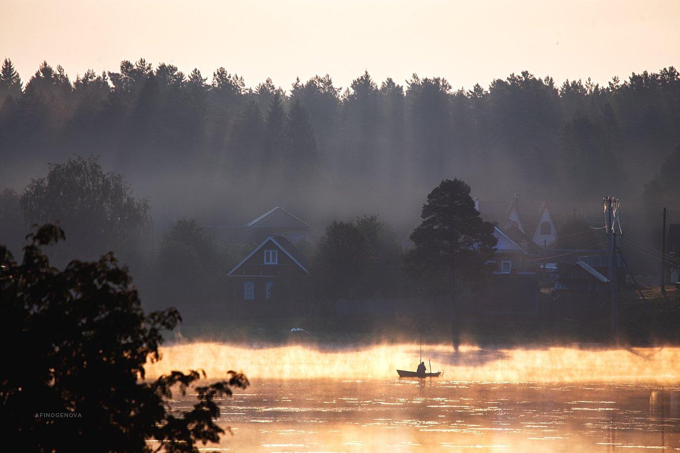 утро рассвет лодка рыбак лес, Афиногенова Татьяна