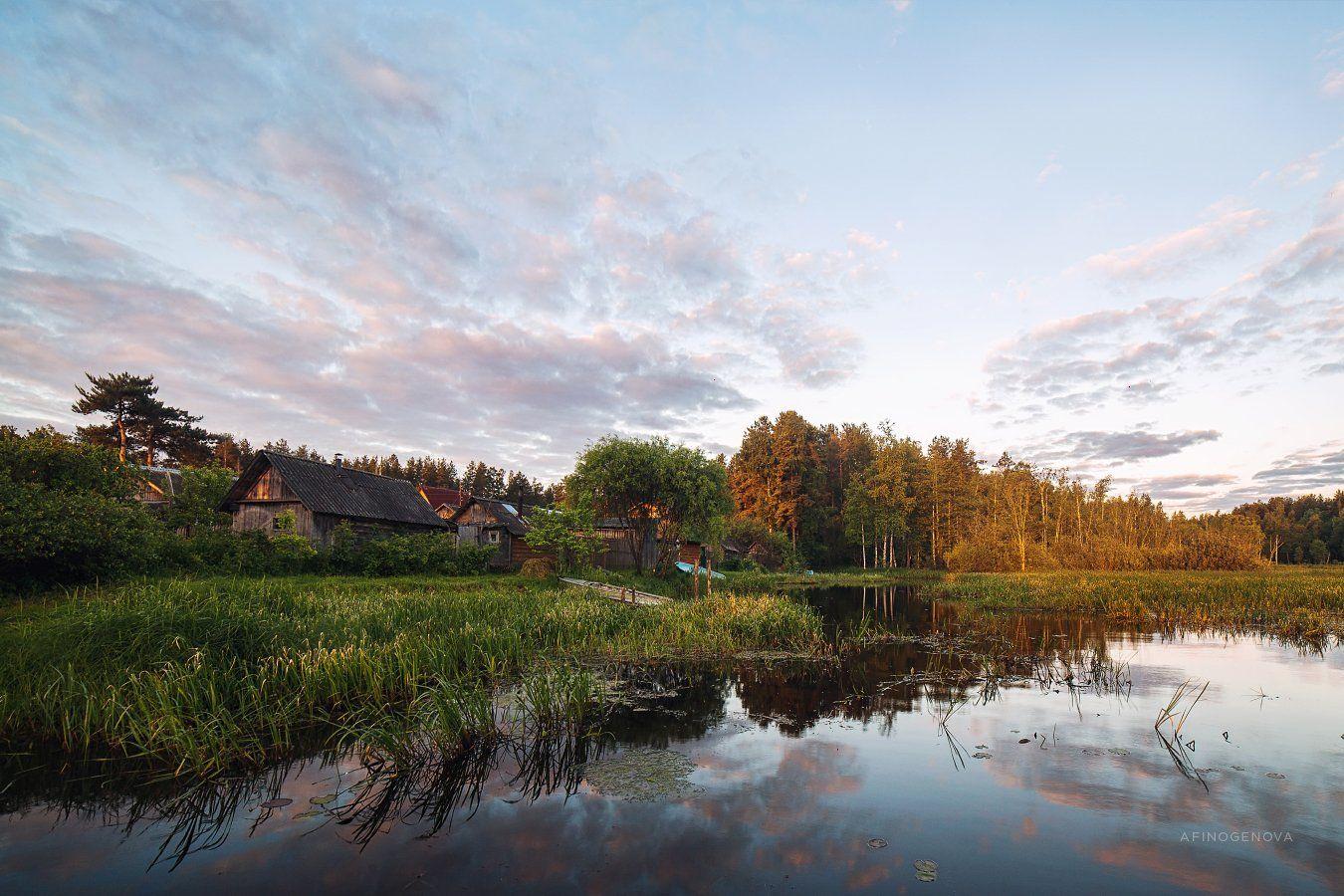 лето утро деревня лес вода отражение, Афиногенова Татьяна